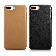 XOOMZ Case for iPhone 7 Plus TOP Genuine Leather Case for iPhone 7 7Plus Full Leather Edge Back Cover for iPhone7 Black Brown