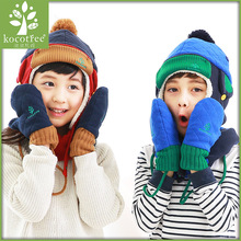 Kocotree Korean Version Children Ages 1-10 Winter Warm Chunky Thick Beanie Hats And Scarves Kids Boys Girls Cap Gloves Set(China)