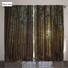 Curtains Bedroom Modern Nature Home Collection Redwood Forest California Sunset Orange Brown Living Room 2 Panels Set 145*265 sm
