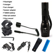 LED CREE XM-L2 Flashlight 8000Lumens Tactical Flashlight Hunting Flash Light Torch Lamp +18650 Battery+Charger+Gun Mount