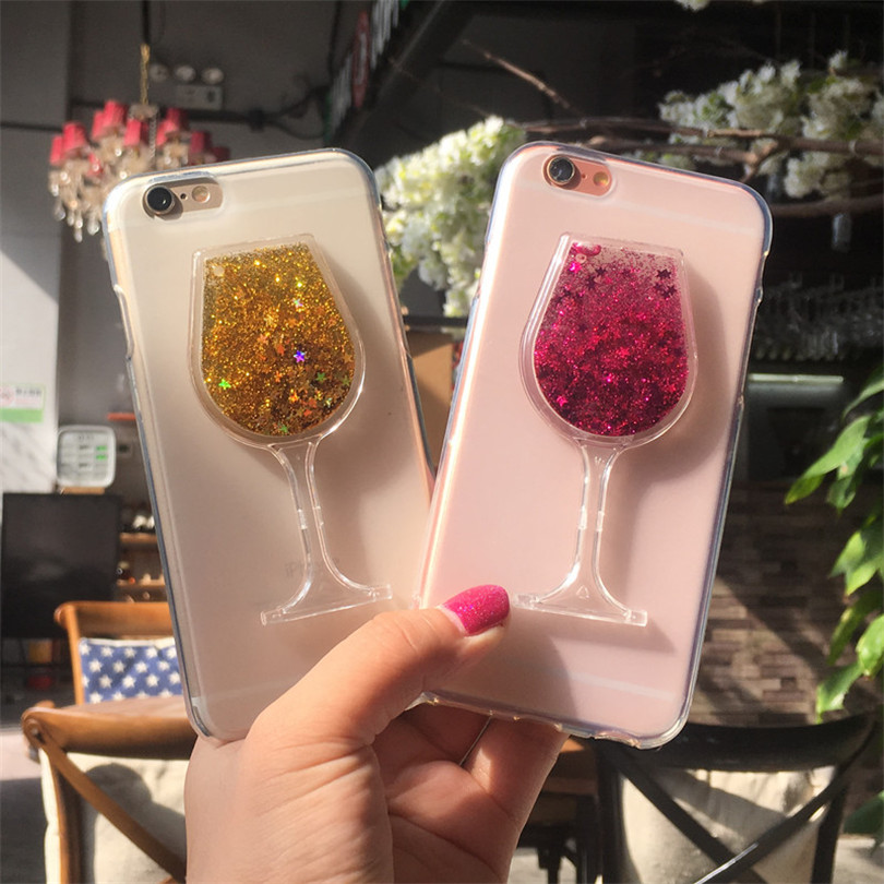 3D Red Wine Cup Dynamic Liquid Bling Glitter Quicksand Moving Star Cover HTC One M8 / One 2 M8S Soft TPU Phone Case