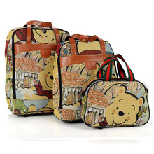Lovely Winnie the Pooh luggage set Trolley Fixed Casters Wheel Traveler Cartoon Canvas Luggage Bag Student backpack