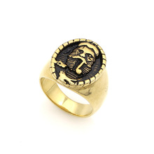 2017 New Vintage Titanium Steel Men Jewelry Trend Personality Punk Style Beard General Pattern Rings Fashion Hand Accessories