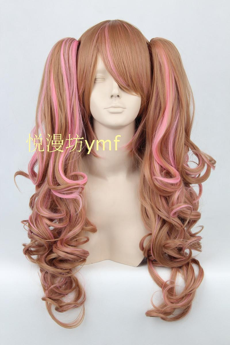 Lolita Pink Brown Wave 65cm Long With Chip Ponytails Cosplay Costume Wig,Synthetic Hair.Free shipping<br><br>Aliexpress