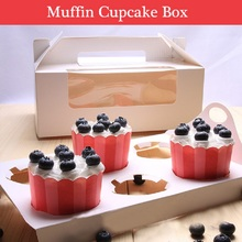 6 Holes Handheld Muffin Cake Boxes Biscuits Cupcakes Boxes for Wedding Festive Party Christmas Gift Box with PVC Window