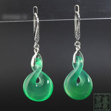 Free shipping birthday gift giving the best Natural green chalcedony earrings Female style restoring ancient ways