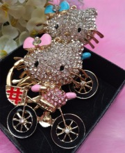 Min.$15 (Mixed Order)  Rhinestones pink blue hello kitty lovely cat  Cell Phone DIY Alloy Decoration keychain charms