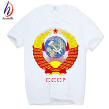 Hecoolba 2017 Men's CCCP Russian T-shirt Short sleeve O-Neck White Moscow Russia Tshirt USSR Soviet Union Swag T shirt HCP311(China)