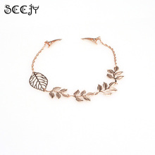 SCCJY Women Personality Golden Plated Tone Leaf Hair Clip Chain Headband Hairpins Hot Hair Decor Accessories A2R29