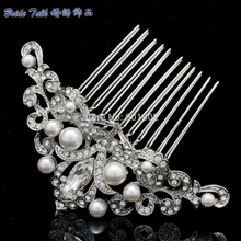 Flower Pearl Hair Pins Comb Vintage Inspired for Bridal Austrian Crystal Headpiece Wedding Accessories Hair Jewelry CO1457R1(China)