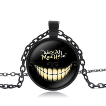 Necklaces & Pendants Alice In Wonderland Collage 25mm Glass Round Pendant Black Chain Cheshire Cat Necklace Women Children Gift