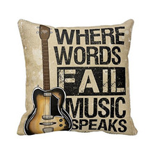 Vintage Personality Cotton Linen Guitar Cushion Cover Music Words Pillow Case For Sofa/Bed/Cars Decoration(China)