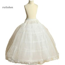 ruthshen New Arrival Flower Girls Petticoat 4 Hoop With Lace Appliques Little Kids Ball Gown Dress Underskirt Accessories