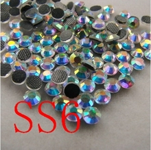1440pcs/lot  SS6  Crystal AB Colour  Hot Fix  Flatback Rhinestones Heat Transfer Design stone For Girl Clothing free shipping