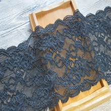 Free shipping16cm width(2yds/lot)black calico Hair Decoration Elastic Stretch Lace Trim wedding dress skirt lace trim17082102