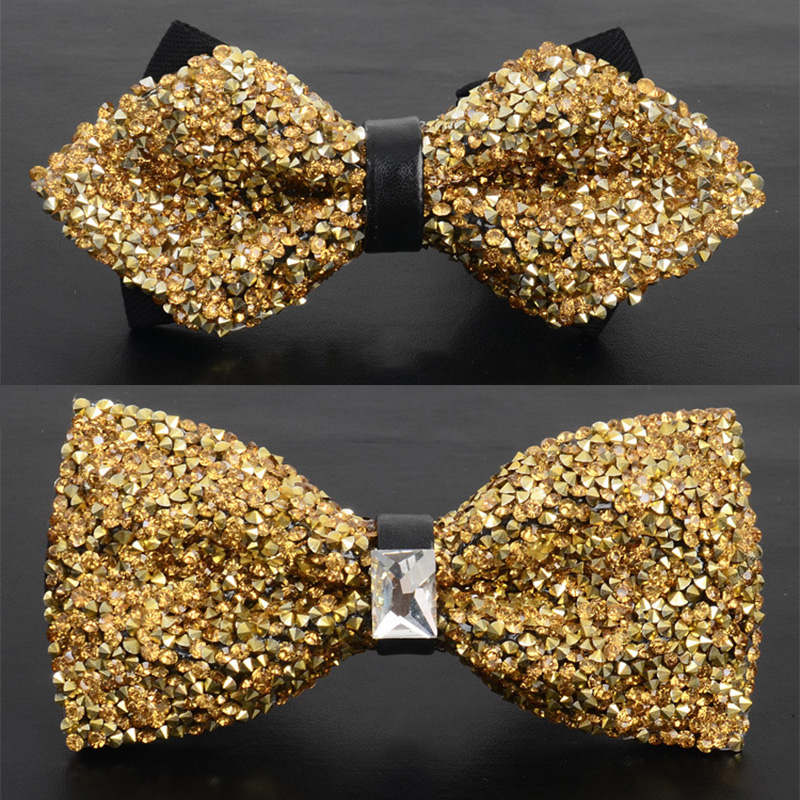 Sharp Corner Double Layer Polyester Crystal Flower Formal  Men/'s Bow Ties