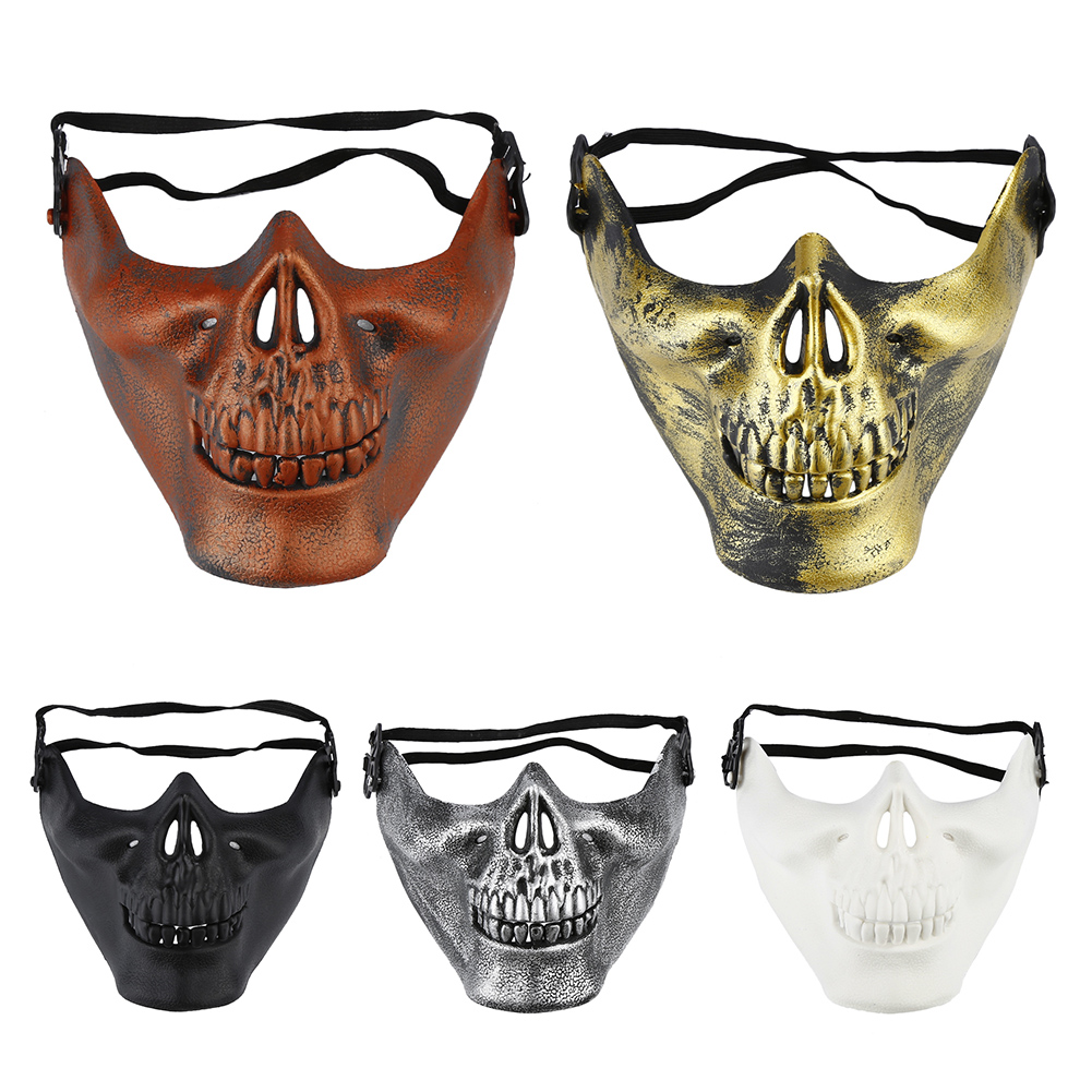 Scary Warrior Airsoft Motorcycle Costume Outdoor Half Skull Halloween Mask Party