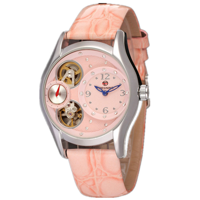 Fashion Luxury Brand Women Watch Self Wind Automatic Mechanical Watch Waterproof Wirstatch Clock Leather Strap Sale Watch<br><br>Aliexpress