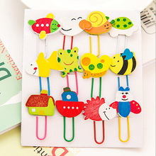 Hot Sale New 12 piece/lot Creative Office Supplies Cute Woodiness Cartoon Animals Paper Clips Wholesale(China)