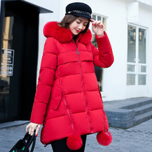 YTNMYOP Loose Winter Coat For Women 2017 New Plus Tops Jackets Outerwear Zipper Artificial Fur Collar Solid Cotton parkas(China)
