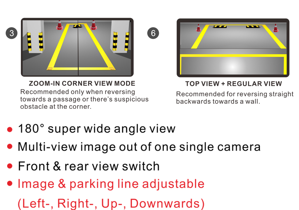 PARKVISION 180 -190 Degrees Wide Angle Viewing Front Backup Reverse Rear View Vehicle Car Camera Multi-view Image Parking Line 4