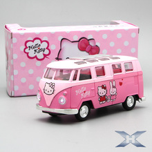 Cartoon Cute Little Bus Alloy Vehicles Diecast Sound Flashing Door Open School Bus Toy for Kid