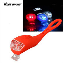 WEST BIKING 1 pair Cycling Silicone Warning Bicycle Night Riding Light Bike Handlebar Lights Waterproof 2 LED Lamp Front Light(China)