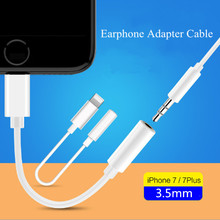 Headphone Jack Cabo Adapter for iPhone 7 / 7 Plus 2 in 1 Lightning To 3.5mm Female Audio Jack Earphone Connector Cable Adapter