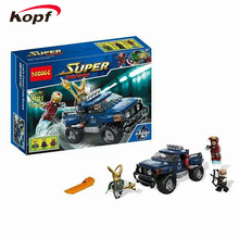 Decool 7101 Building Blocks Super Heroes Avengers Loki/Hawkeye/Iron Man With Truck Loki's Cosmic Cube Escape Toys
