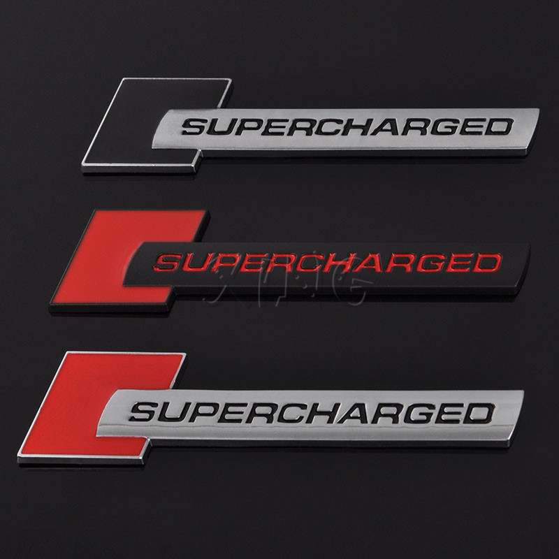 Metal Supercharged Car Emblem Badge Sticker Decal Fit Land Rover Audi Red+Black