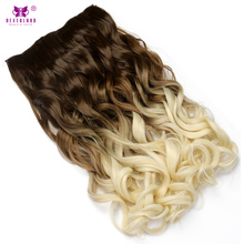 "Neverland 24"" Clip in Hair Extension Synthetic Wavy Hair One Piece 5Clips Ombre Natural Brown to Beige Hairpiece Women Wigs(China)"