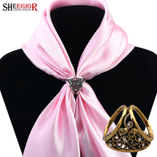 SHEEGIOR Vintage Lovely Silk Scarf Buckle Broocheses for women Gold/Silver color Hollow Flower Scarf Brooch Fashion Jewelry Gift