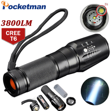 CREE T6 3800 Lumens LED Flashlight Zoomable toche lampe lanterna Torch linternas LED by 18650/AAA customize Drop shipping ZK93