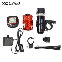 Bicycle Speedometer and 5 LED Mountain Bike Cycling Light Head and Rear Lamp Light Super Bicycle Accessories Set(China)