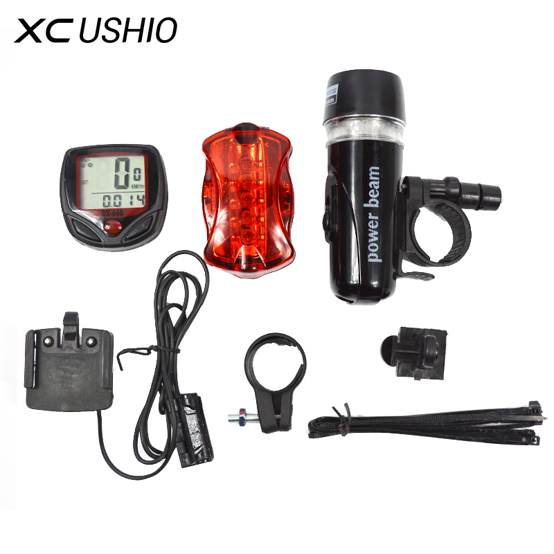 Bicycle Speedometer and 5 LED Mountain Bike Cycling Light Head and Rear Lamp Light Super Bicycle Accessories Set(China (Mainland))