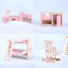 1Set Lovely Miniature Wooden Doll Furniture Dollhouse Set For Kids Child Play Toy Best Gift For Girl High Quality