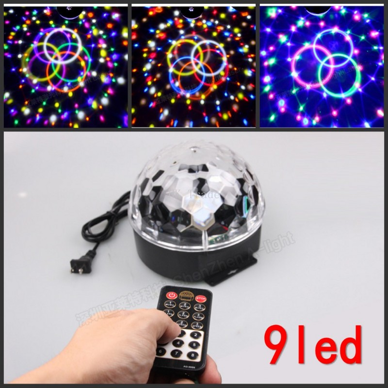 9 LED Remote Control Crystal Magic Ball Led Stage Lamp KTV Disco Laser Light Party Lights Sound Control Laser Projector KTV<br><br>Aliexpress