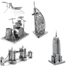 Big sale!3D Solid Puzzle Metal Alloy Model Educational DIY Toy For Children Kids Bridge Tower Insects Musical Instruments
