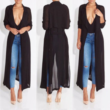 2016 new fashion full sleeve trench coat balck chiffon duster for women woman overcoat outwear causal robe long dress sexy
