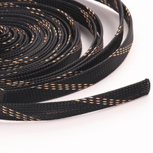 10M Black+Gold 15mm Diameter Wire Cable Protecting PET Nylon Braided Cable Sleeve High Density Sheathing Insulation(China)