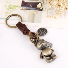 Vintage Keychain Key Rings Fashion Pendant Metallic Bear Cute Cartoon Leather Bag Accessories Charm Ornament S2357