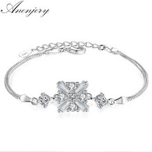 Anenjery New Luxury Fashion 925 Sterling Silver Cube Crystal Four Claws Zircon Box Chain Bracelets & Bangles pulseira S-B44