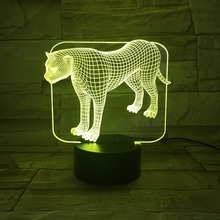 3D Illusion Lamp Transparent Acrylic LED Night Light Leopard Desk Book Lampara Color Changeable RGB Decor Craft Children Gifts