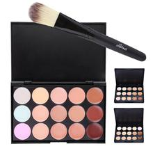 Popfeel 15 Colors Contour Concealer Palette Cream Corrector Powder Natural Foundation Highlighter Cream With Brush Y3(China)