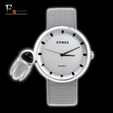 2017 gift for lady Enmex simple design pure white wristwatch Fresh and clean style stainless steel fashion clock quartz watches(China)