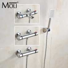 Wall Mounted Chrome Thermostatic Shower Mixer Thermostatic faucet Shower Taps , Automatic Temperature Control Water Valve