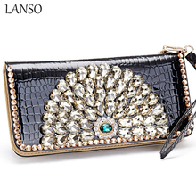LANSO High Quality New Design Fashion Luxury Charm Diamond Rhinestone Peacock Crystal Wallets Purse Clutch Evening Bags Casual