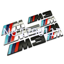 New Mpower M-tech on Car Trunk Badge Emblem 3D Pure Metal Front Hood Grille Sticker logo///M M3 M5 for BMW Car Styling Sticker(China)