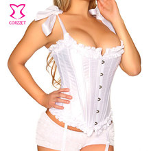 White Bridal Corsets Steel Boned Wedding Corset with Tied Bow Strap Korsett For Women Corpetes E Espartilho Sexy Gothic Lingerie