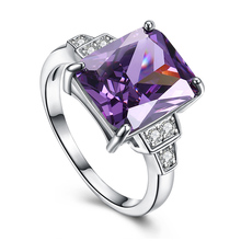 H:HYDE Nice Shipping 1pc silver Color Purple Square CZ Zircon Fantastic Hot Sale Womens Ring(China)